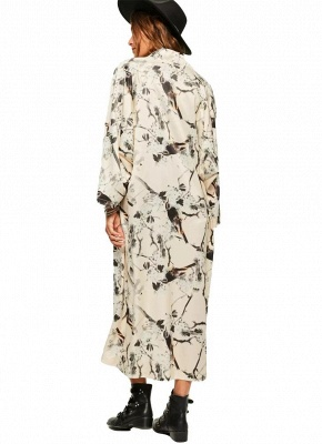 Floral Bird Print Open Front Women's Long Thin Kimono_4