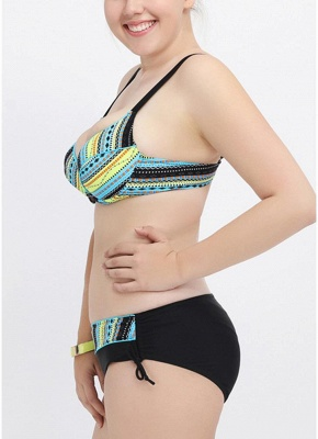 Plus Size Striped Sexy Bikini Set_4