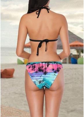 Women Two Pieces Swimsuit Island Print Sexy Bikini Set Bathing_3