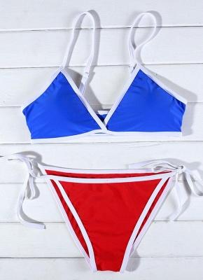 Contrast Color Block Bandage Tie-Thongs Sexy Bikini Set_4
