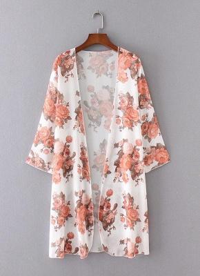 Boho Chiffon Floral Print Open Front Women's Long Kimono_5