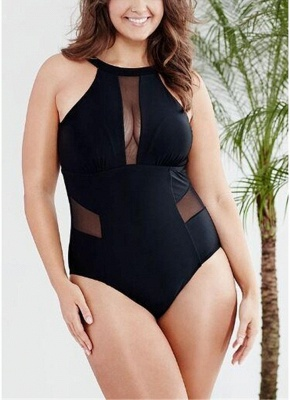 Plus Size Solid Sheer Mesh Halter Neck Open Back One Piece Swimsuit_1