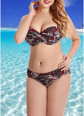 Plus Size Printed Retro Big Breast Sexy Bikini_1