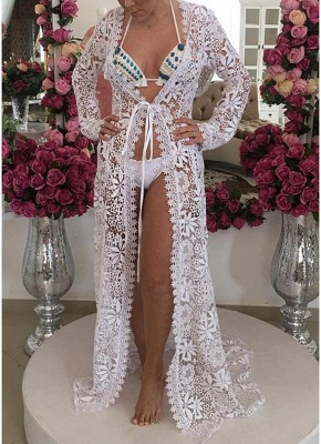 Women Crochet Lace Long Cardigan Beach Sexy Bikini Cover-Up Sheer Maxi Boho Outwear_1