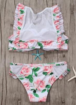 Women Two Piece Swimsuit Floral Print Mesh Ruffled Beach  Sexy Bikini Set Swimwear Pink?_4