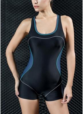Women Sports One Piece Swimsuit  Shorts Splice Racing Training Swimwear_2