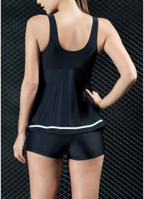 Women Two Piece Swimsuit Tankini Set Contrast Color Vest Bottom Swimwear_3