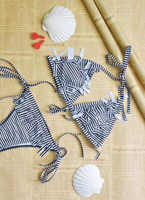 Women Swimwear Striped Halter Bandage Backless Tassel Swimsuit Beach Wear Sexy Bikini Set_5