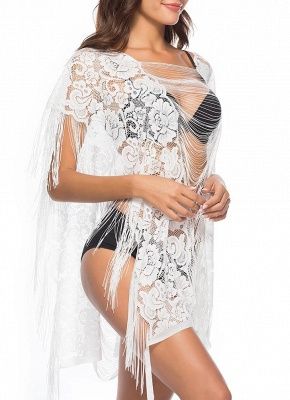 Sheer See Through Flower Lace Tassel Fringe Mini Loose Solid Beach Cover Up_4