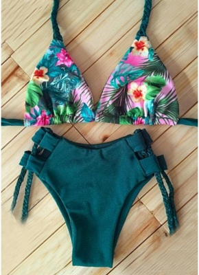 Floral Print Halter Braided Bandage Padded Hollow Out Women Sexy Bikini Set_6