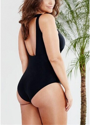 Plus Size Solid Sheer Mesh Halter Neck Open Back One Piece Swimsuit_3