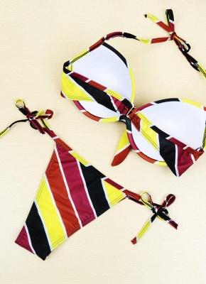Contrast Stripe Underwire Padded Cup Tie Sexy Bikini Set Swimsuit_12