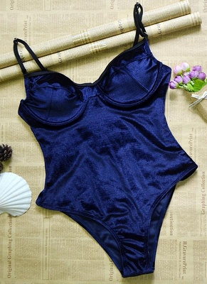 Sale dark blue l  Women Velvet Underwire Push-Up Solid One-piece Swimsuit_4