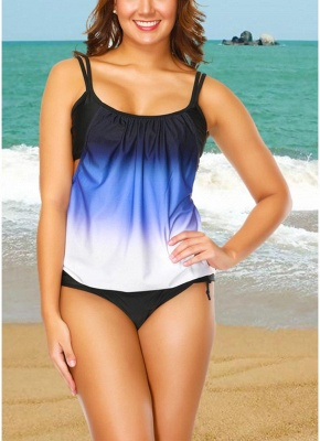 Gradient Print Sleeveless Backless Padded Wireless Swimsuit_1