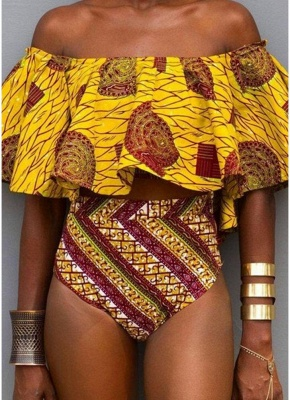 Off the Shoulder Tribal Print Ruffle High Waist Sexy Bikini Set_1