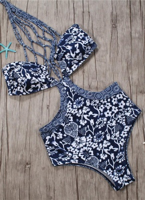 Women One Piece Swimsuit  Floral Print Lacing Up Hollow Out Contrast Bodysuit Beach Wear Swimwear_4