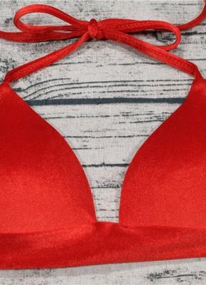 Solid Velvet Triangle Halter Bandage Push Up Sexy Bikini Set_4