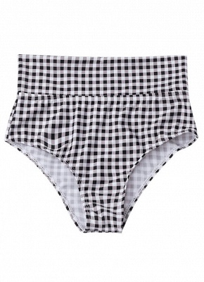 Women Plaid Swimsuit Set High Waist Backless Two Pieces Sexy Bikini Swimwear_4