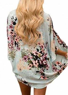 Summer Women Floral Chiffon Cardigan Open Front Half Sleeve Kimono_4