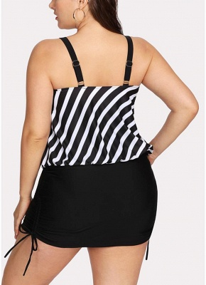 Women Striped Swim Dress Tie Side_3