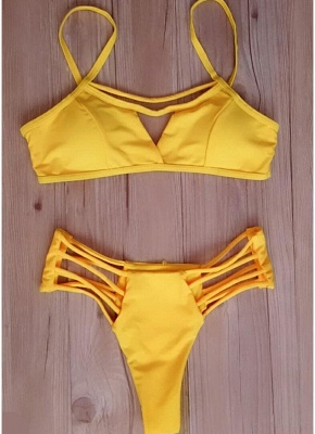 Women Sexy Bikini Set Strappy Bandage Push Up Wireless Swimwear Beach Wear_4