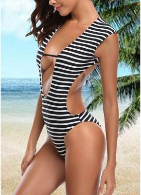 Women One-piece Swimsuit Striped Cutout Back  Swimwear_4