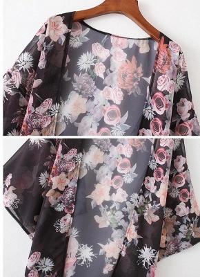 Fashion Chiffon Loose Cardigan Front Floral Print Vintage Women's Kimono_6