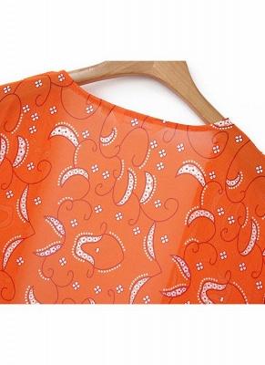 Women Cardigan Open Front Contrast Print Half Sleeve Kimono_4