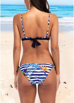 Women Striped Print Sexy Bikini Set Backless Low Tie Waist Swimwear Swimsuit Beach Bathing_3