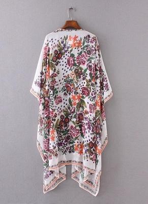 size Chiffon Floral Print Asymmetric Loose Long Kimono_5