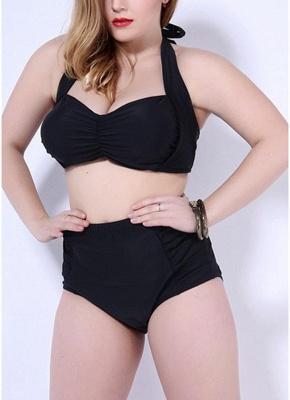 Plus Size Halter Underwire Push Up Sexy Bikini Swimsuit_4