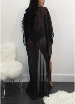 Mesh Cover Up Deep V Neck Criss Cross One Piece Swimsuit   Long Sleeve_3