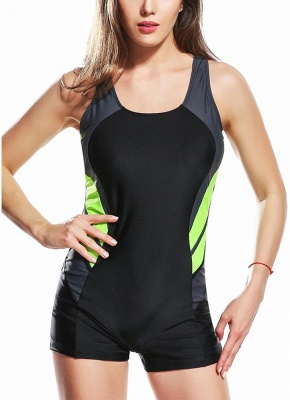 2xl Panel Splicing Racing Sports One Piece Swimsuit_2