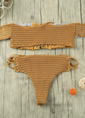 Women Smocked Off the Shoulder Lace Up Sexy Bikini Set_1