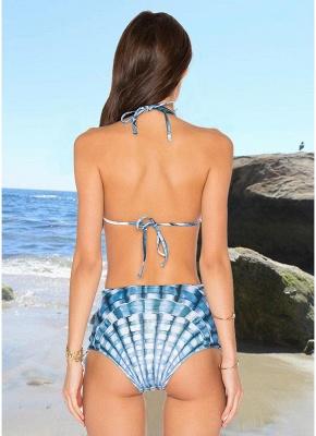 Women Two Piece Sexy Bikini Set Halter Plaid Print Padded Bandage Criss Over High Waist  Swimwear_5