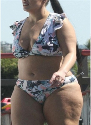 Plus Size Frill Sleeve Printed Push Up Sexy Bikini_3