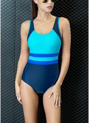 Women One-piece Swimsuit Contrast Color Padded Monokini  Swimwear_2