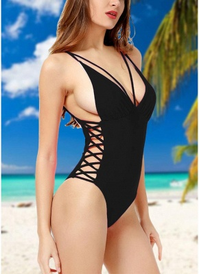 Crisscoss Bandage Backless Strappy Solid One-piece Swimsuit_3