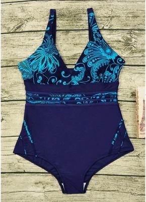 Women Plus Size One Piece Swimsuit Vintage Print Padded Monokini  Swimwear_6