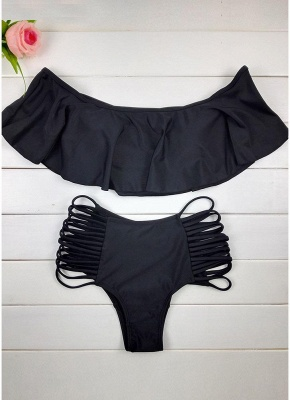 Women Sexy Bikini Set Off the Shoulder Ruffles Hollow Out Side Cross Straps_4