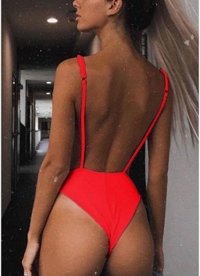 Cut Out Open Back Solid Padded Monokini One Piece_6