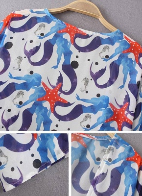 Women Chiffon Beach Kimono Mermaid Print Sea Holiday Cardigan_5