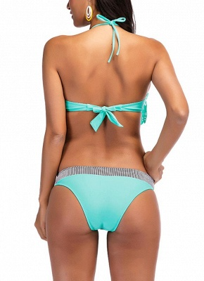 Women Sexy Bikini Set Fringing Front Tied Backless Padded Two Pieces Swimsuit_3