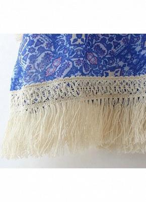 Vintage Retro Print Tassel Fringe Sheer Chiffon Blue Kimono_9