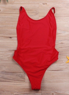 Cut Out Open Back Solid Padded Monokini One Piece_1