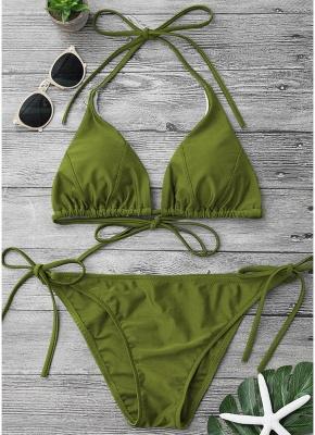 Solid Color Halter Bandage Tie Sexy Bikini Set_4