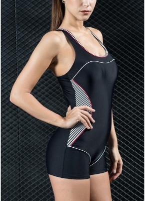 Women Sports One Piece Swimsuit  Shorts Splice Racing Training Swimwear_5