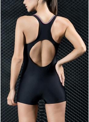 Women Sports One Piece Swimsuit  Shorts Splice Racing Training Swimwear_4
