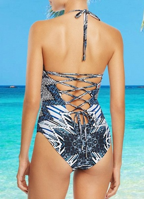 Lace Up Print Halter Tie Strappy Back Swimsuit_3