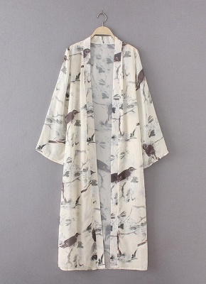 Floral Bird Print Open Front Women's Long Thin Kimono_5